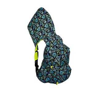 Morikukko Kool Patterned Triangles Neon Yellow Mesh Hooded Backpack