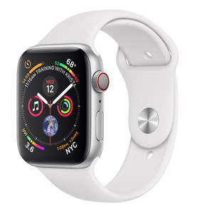 Apple Watch Series 4 GPS +Cellular 44mm Silver Aluminium Case with White Sport Band