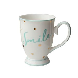 Smile Mug with Hearts Gold/Mint