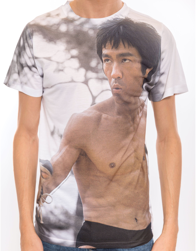 Bruce Lee Battle Ready White Adult Poly Crew Mens Tshirt S