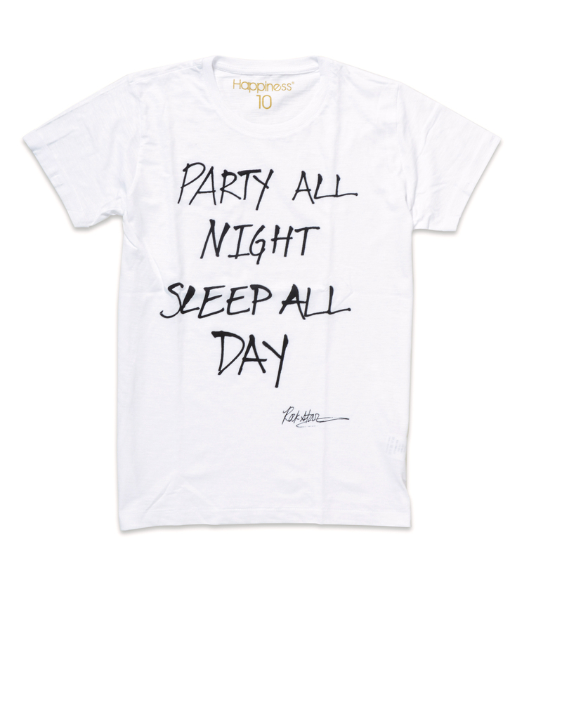 Party All Night Sleep All Day White Men Tshirt Xl