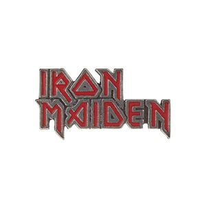 Iron Maiden Red Enamel Logo Pin Badge Silver