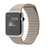 Apple Watch 42mm Stainless Steel Case Stone Leather Loop Medium