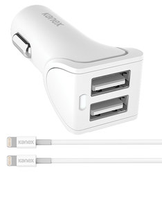 Kanex 2 Port Usb 3.4A White Car Charger with 2 1.2M Lightning Cable