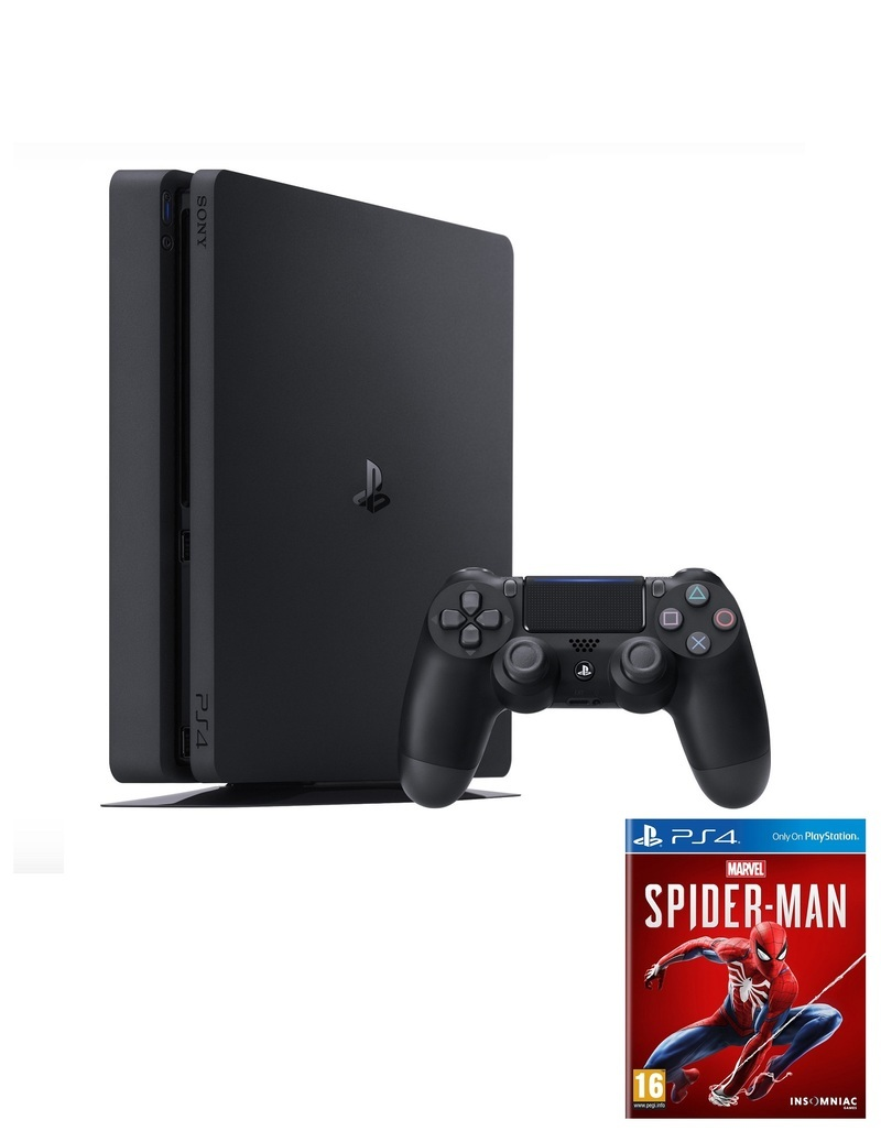Sony PS4 Slim 1TB 2216B Jet Black + Marvel Spider-Man