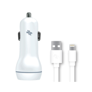 Swiss Mobility 3.4A Dual-Port White Car Charger With Lighting Cable