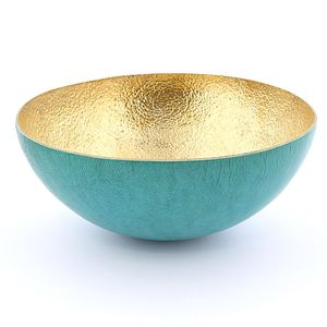 Afrika Tiss Round Bowl Green Turquoise/Hammered Bronze