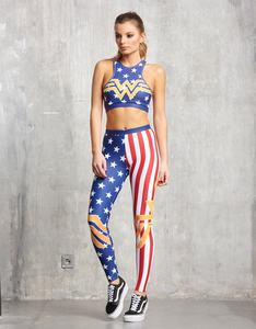 Sugarbird Wonder Woman Gold Seal Fitted Fitness Pants M