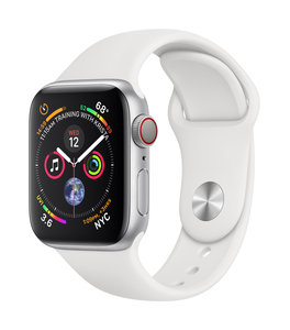 Apple Watch Series 4 GPS +Cellular 40mm Silver Aluminium Case with White Sport Band