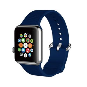 Promate Silica-38 Blue Lightweight Contoured Silicon Watch Strap with Single Tour Deployment Buckle for 38mm Apple Watch