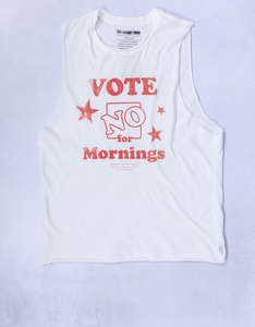 No Mornings White Womens Muscle Tee