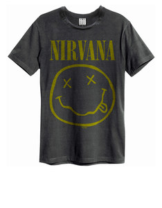 Amplified Nirvana Smiley Face Charcoal T-Shirt