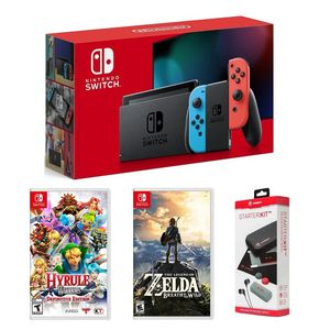 Nintendo Switch Neon Joy-Con + Zelda Breath of the Wild + Hyrule Warriors Definitive Edition + Snakebyte Starter Kit