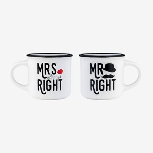 Legami Espresso for Two Mr & Mrs Right Coffee Mug [Set of 2]