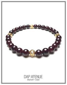 Dap Avenue Red Garnet & Gold-Plated Brass Bracelet