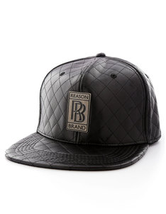 Reason Royce Quilted Leather Snapback Black Cap