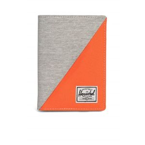 Herschel Raynor Passport Holder RFID Light Grey Crosshatch/Vermillion Orange