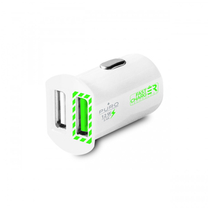 Puro USB 2.4A 2-Port White Mini Fast Car Charger
