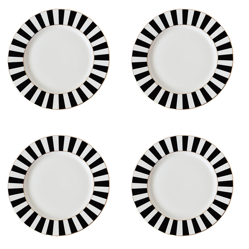 Bombay Duck Stripy Black/White Tea Plates [Set of 4] | Coffee and ...