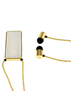 J'Adore Adorn Bare Your Sophistication Gold Crystals & Gold Beads Rectangular Pendant In-Ear Earphones
