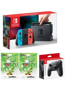 Nintendo Switch 32GB Console with Neon Joy-Con Controller + Pro Controller + 2 Amiibo