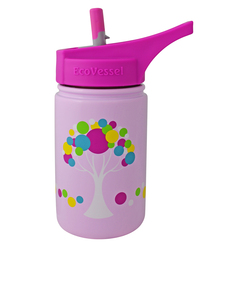 EcoVessel Scout Pink W/Tree Kids Water Bottle 400ml