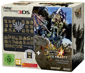 Nintendo New 3Ds Black +Monster Hunter 4 +Faceplate