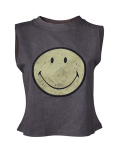 Smiley Acid Washed Women's Tanktop Grey