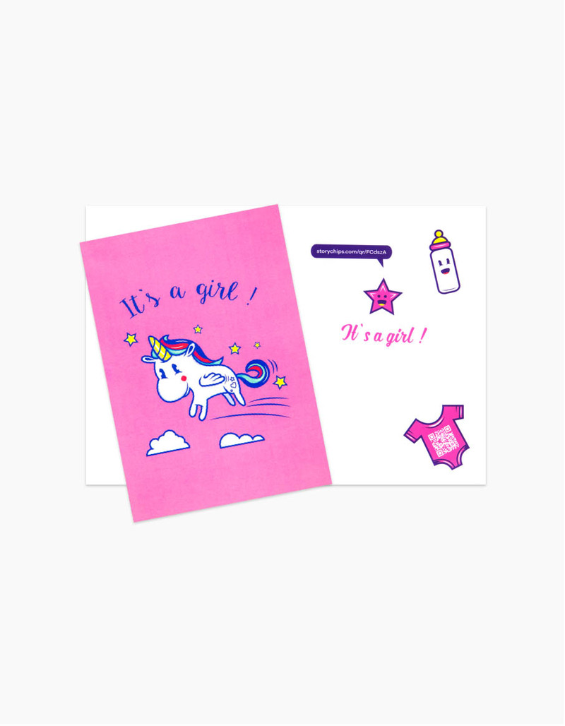 Storychips Its A Girl Unicorn Greeting Card Greeting Cards