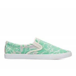 Bucketfeet Blossom Grey/Mint Low Top Women's Canvas Slip-Ons