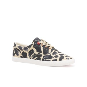Bucketfeet Giraffe Beige/Black Low Top Canvas Lace Women's Shoes