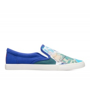 Bucketfeet Trencadis Blue Low Top Women's Canvas Slip-Ons