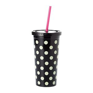 Kate Spade Tumbler With Straw Le Pavilion Black Dots
