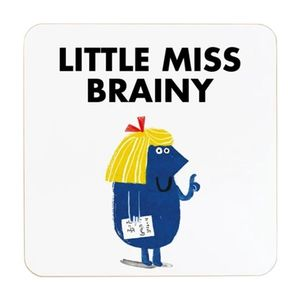 Ohh Deer Little Miss Brainy White/Blue Coaster