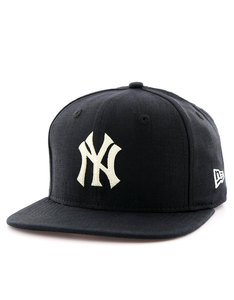 New Era Linen Felt Strap NY Yankees Black Cap