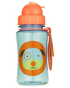 Skip Hop Zoo Straw Kids Water Bottle Dog 350ml