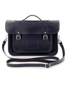 Zatchel Classic Navy/Leather Satchel 13 Inch