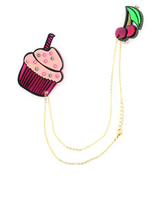 Creative Ville Cherry Cup Cake Fashion Pins [Set of 2 on Chain]