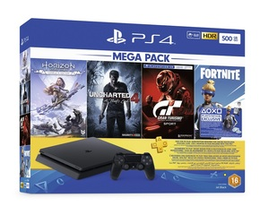 PS4 Slim 500GB 2216A Jet Black + Horizon Zero Dawn Complete Edition + Uncharted 4 + GT Sport + Fortnite 3 Months