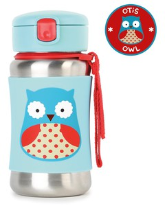 Skip Hop Zoo Stainless Steel Straw Kids Water Bottle Owl 350ml