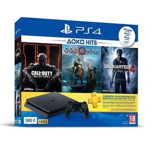 PS4 Slim 500GB Jet Black + Call Of Duty Black Ops III + God Of War + Uncharted 4 A Thief's End + 3 Months PS Plus