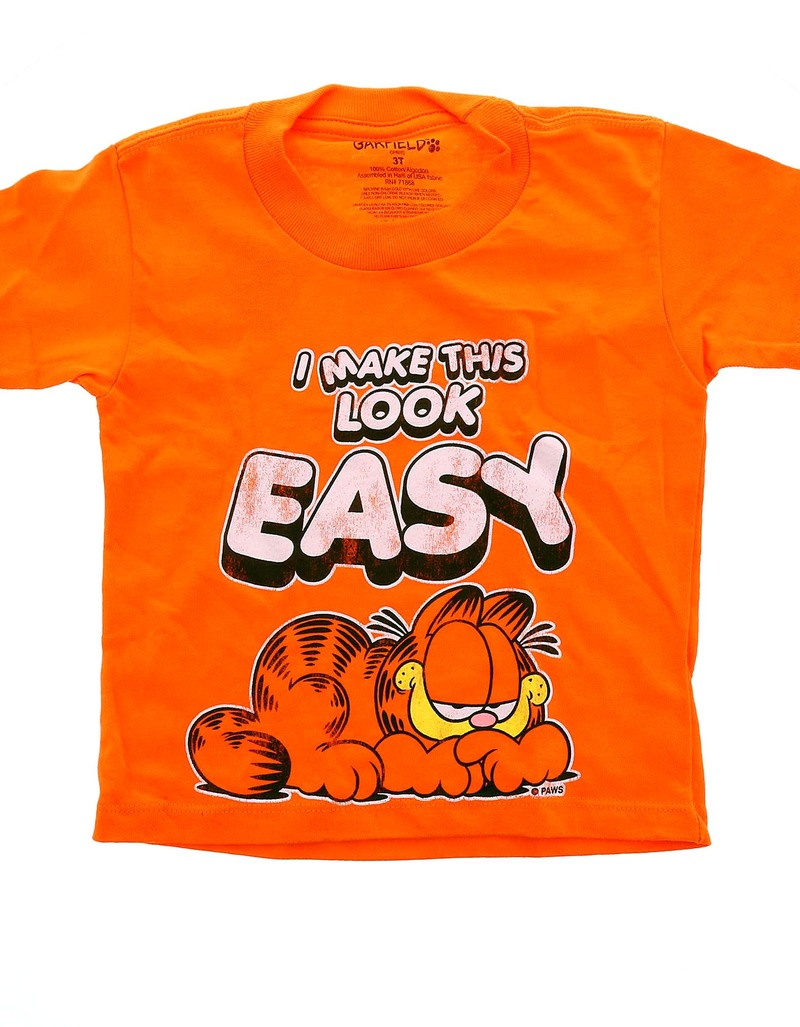 garfield i make this look easy orange t shirt tops kids