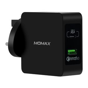 Momax Oneplug 2-Port Fast Charging Adaptor Black