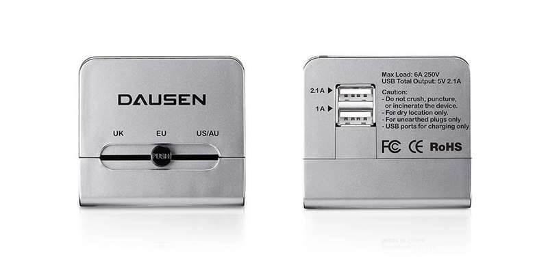 Dausen World Travel Adapter W/Dual Usb Port Charger