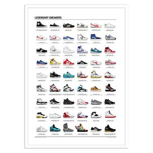 Legendary Sneakers Art Poster by Olivier Bourdereau 50X70 Cm