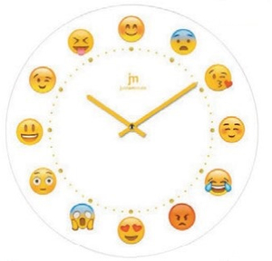 Lowell Smiley Emoticon Quartz Wall Clock with Glass Case