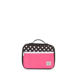 Herschel Pop Quiz Kids Lunch Box Black Crosshatch/Polka Dot/Fandango Pink
