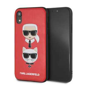 Karl & Choupette Leather Embossed Case Red for iPhone XR