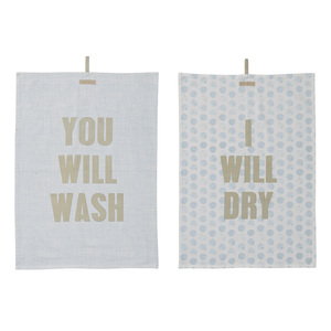 Bloomingville You Will Wash,I Will Dry 2 Assorted Grey/Mint/Sky Blue Kitchen Towel