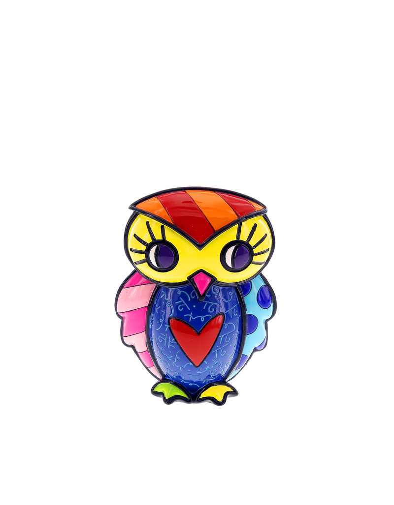 Romero Britto Owl Courage W/Heart Figurine